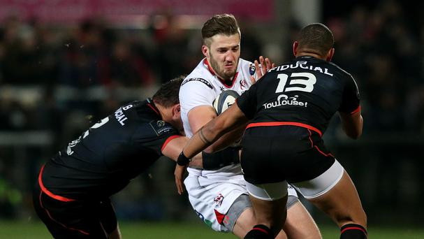 Ulster's bullish centre Stuart McCloskey, centre, could complete a hefty midfield