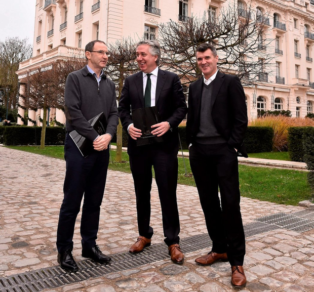 Ireland manager Martin O'Neill with FAI Chief Executive John Delaney and assistant manager Roy Keane in Versailles last December Photo: David Maher/Sportsfile