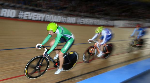 Ireland's Caroline Ryan was taken to hospital with a shoulder injury after a crash in the women's points race at the Track Cycling World Championships in London