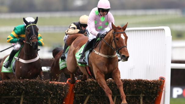 My Tent Or Yours (left) can't keep up with Annie Power in the Champion Hurdle