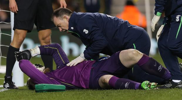 Newcastle's Rob Elliot suffered a serious knee injury on Republic duty