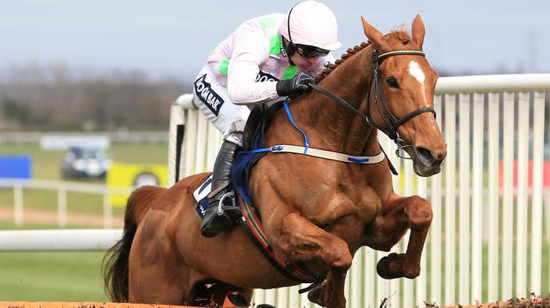 Annie Power on her way to winning the Aintree Hurdle
