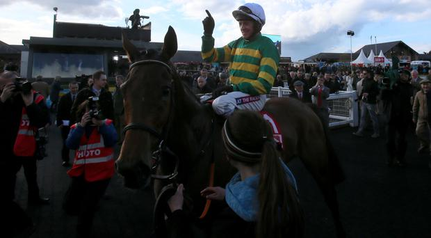 Barry Geraghty celebrates winning the Punchestown Gold Cup on Carlingford Lough