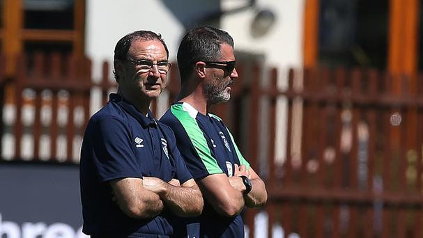 Republic of Ireland manager Martin O'Neill, left, and assistant Roy Keane during a training camp in Cork