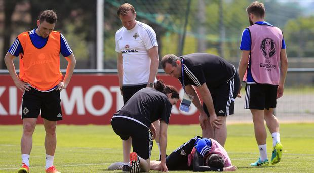 Kyle Lafferty went down injured on Tuesday at training