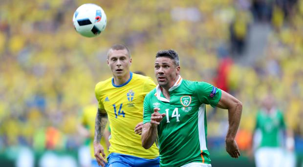 Jonathan Walters (right) is a doubt for the Republic of Ireland's Group E clash with Belgium