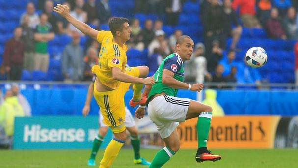 Josh Magennis, right, came on as Northern Ireland defeated Ukraine