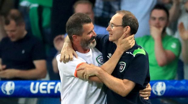 Republic of Ireland manager Martin O'Neill, right, and assistant Roy Keane celebrate in Lille