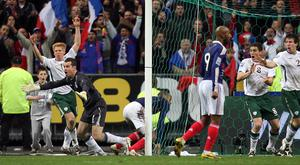 Republic of Ireland's Shay Given (left) appeals for handball after France's Thierry Henry (out of picture) set up Williams Gallas' winning goal in 2009.