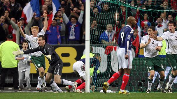 Republic of Ireland's Shay Given (left) appeals for handball after France's Thierry Henry (centre) set up Williams Gallas' winning goal in 2009.