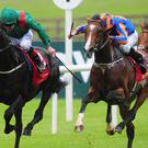Harzand and Pat Smullen (left) get the better of Idaho and Ryan Moore to win the Dubai Duty Free Irish Derby