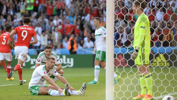 Gareth McAuley responds after scoring an own goal at the Parc des Princes