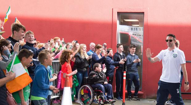Robbie Keane and the Republic players were welcomed back by fans at Dublin Airport