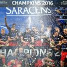 Saracens celebrate winning the European Champions Cup last season