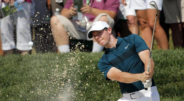 Rory McIlroy struggled during the opening round of the US PGA Championship (AP)