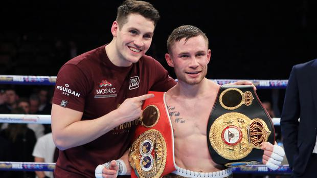 Carl Frampton, right, will go down as Ireland's greatest fighter, according to Barry McGuigan