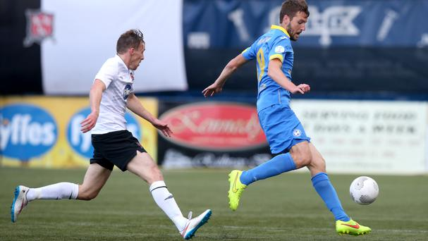David McMillan, left, scored twice in a famous win for Dundalk