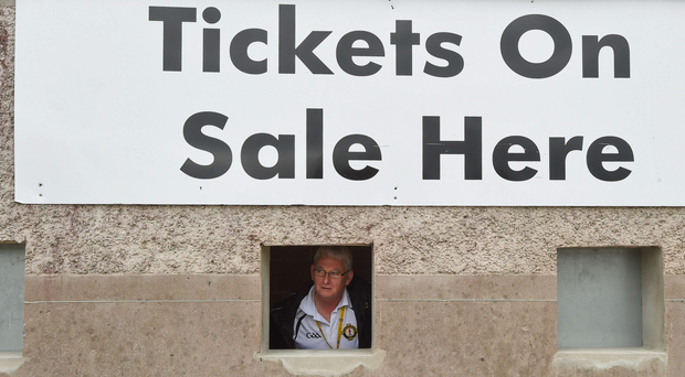 Conal Gallagher, from Ballyshannon, at the ticket office before the Ulster GAA Football Senior Championship Semi-Final Replay between Tyrone and Cavan at St Tiemach's Park in Clones, Co Monaghan. Photo by Philip Fitzpatrick/Sportsfile