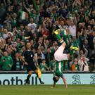 Robbie Keane celebrates with one final cartwheel after his farewell goal