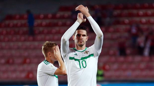 Kyle Lafferty, right, lasted less than an hour in Prague
