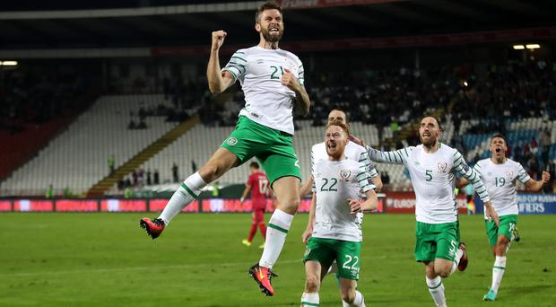 Republic of Ireland's Daryl Murphy celebrates scoring against Serbia