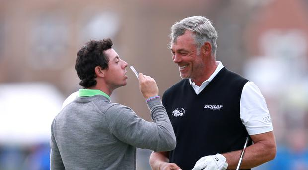 Darren Clarke, right, is hoping fellow Northern Irishman Rory McIlroy, left, delivers at the Ryder Cup