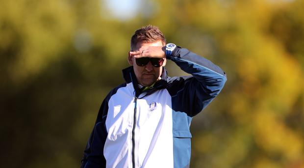 European vice-captain Ian Poulter was keeping a watchful eye on practice on Tuesday