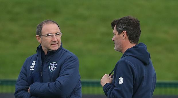 Assistant Roy Keane (right) in conversation with Republic of Ireland manager Martin O'Neill