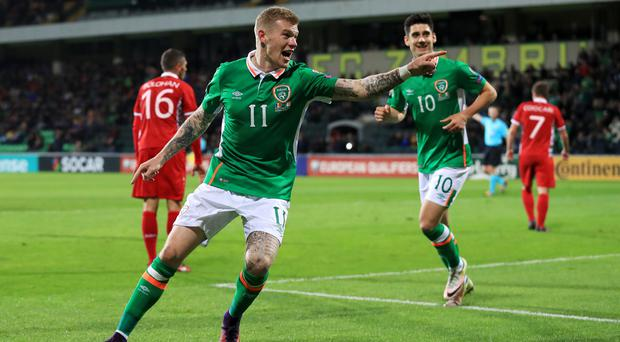 Republic of Ireland's James McClean celebrates scoring his side's third goal against Moldova