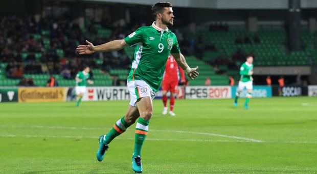 Republic of Ireland's Shane Long celebrates his goal against Moldova