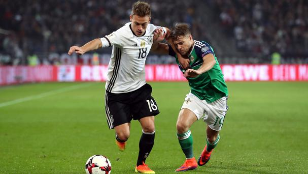 Jamie Ward, right, impressed for Northern Ireland against Germany on Tuesday night