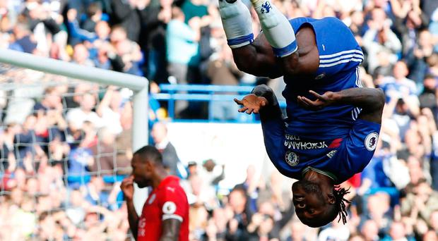Victor Moses acrobatically celebrates scoring Chelsea's third goal in their 3-0 home victory over faltering champions Leicester City. Picture: Getty Images