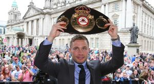 Carl Frampton, pictured, has announced his rematch with Leo Santa Cruz