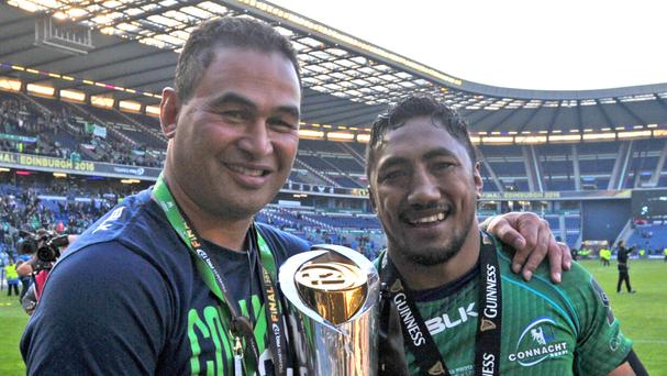 Bundee Aki, right, has signed a three-year contract extension with Connacht