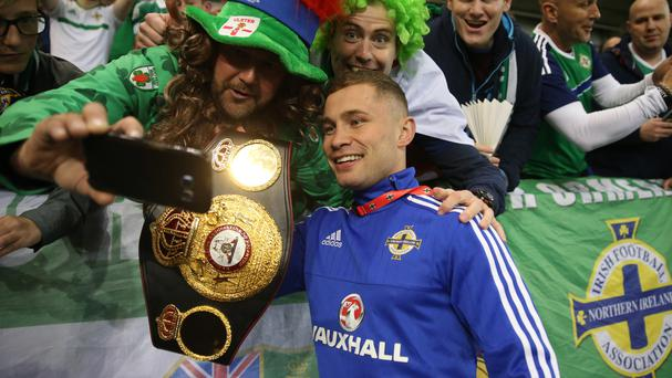 Carl Frampton, right, has announced his rematch with Leo Santa Cruz will take place in Las Vegas