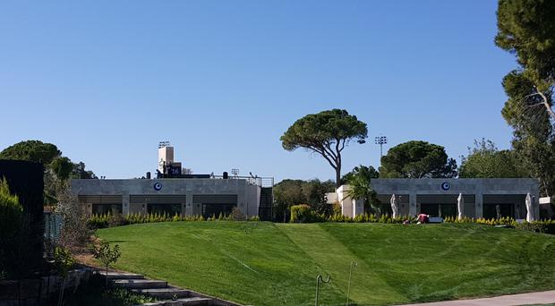 A view of the back tee on the 16th hole, on top of a villa, at the Antalya Golf Club for the Turkish Airlines Open