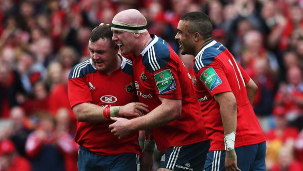 Dave Kilcoyne, left, scored two tries for Munster
