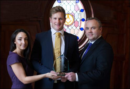 Winner of the Aengus Fanning Emerging Cricket Player of the Year 2016, Barry McCarthy, pictured with Kate Lawlor, Marketing Manager at the Sunday Independent, and Cormac Bourke, Sunday Independent Editor, at the Cricket Ireland Awards Picture: David Conachy