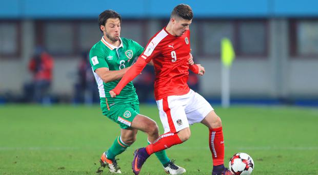 Harry Arter made his competitive debut for the Republic against Austria