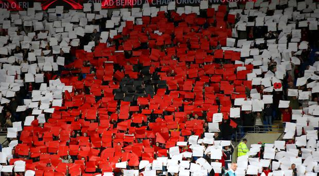 Wales fans displayed an image of a poppy as their team hosted Serbia in a World Cup qualifier