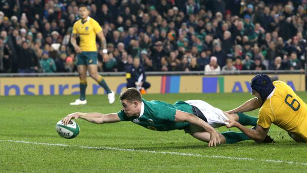 Garry Ringrose scored Ireland's second try against Australia