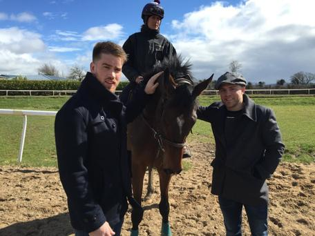 Leinster flanker Dominic Ryan (left) and Ireland out-half Ian Madigan - both of whom are co-owners of The Crafty Butchers - with leading chaser Douvan at the Willie Mullins' yard in Closutton