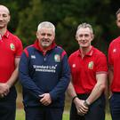 Warren Gatland, second from left, has named three of his coaches