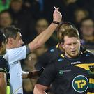 Northampton Saints' Dylan Hartley is shown a red card last month for a dangerous tackle on Leinster's Sean O'Brien
