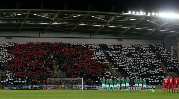 Northern Ireland fans display a poppy mosaic during last month's game with Azerbaijan