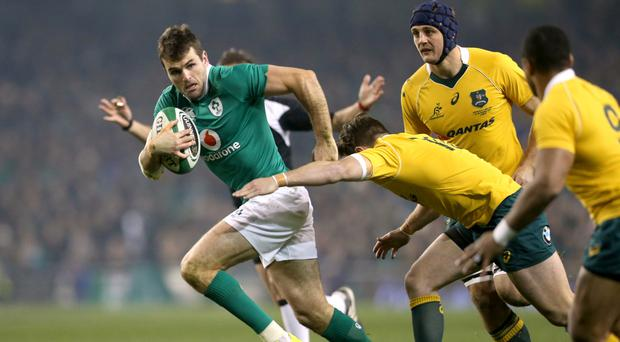 Jared Payne, left, is unlikely to feature in Ireland's RBS 6 Nations clash in Wales after missing training on Monday