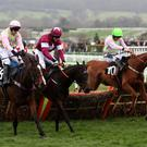 Apple's Jade (centre) battles with Vroum Vroum Mag (left) and Limini at Cheltenham