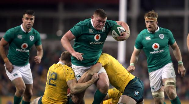 Tadhg Furlong, pictured centre, is not focused on souring England's campaign