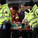 Wales captain Ashley Williams, centre, wishes Seamus Coleman well as he is stretchered off