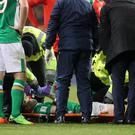 Republic of Ireland's Seamus Coleman suffered a broken leg against Wales